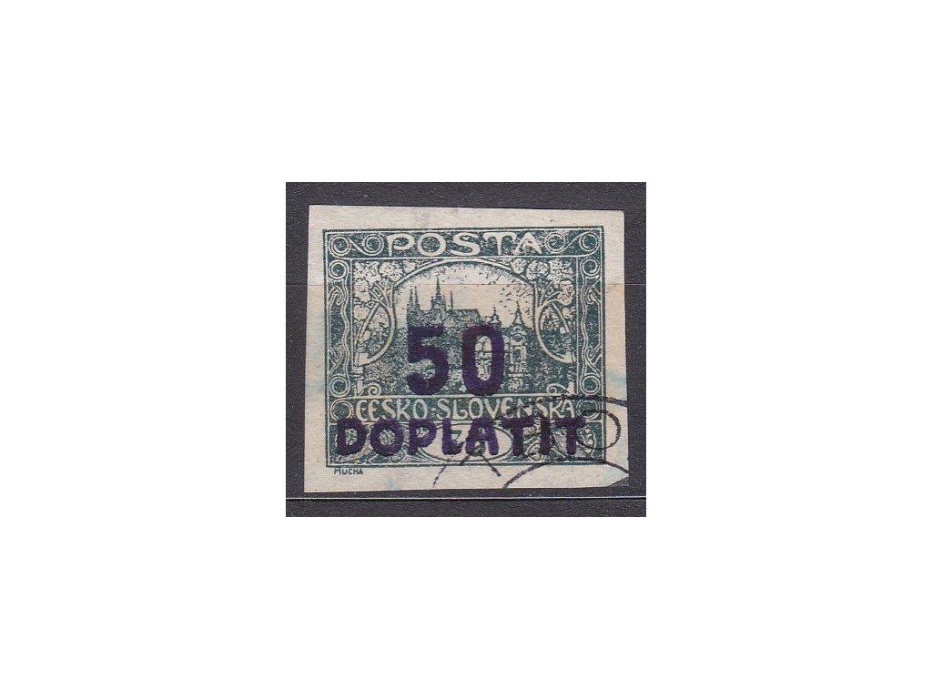 50/75h šedozelená, fialový přetisk, rámečkový typ, Nr.DL19a, razítkované