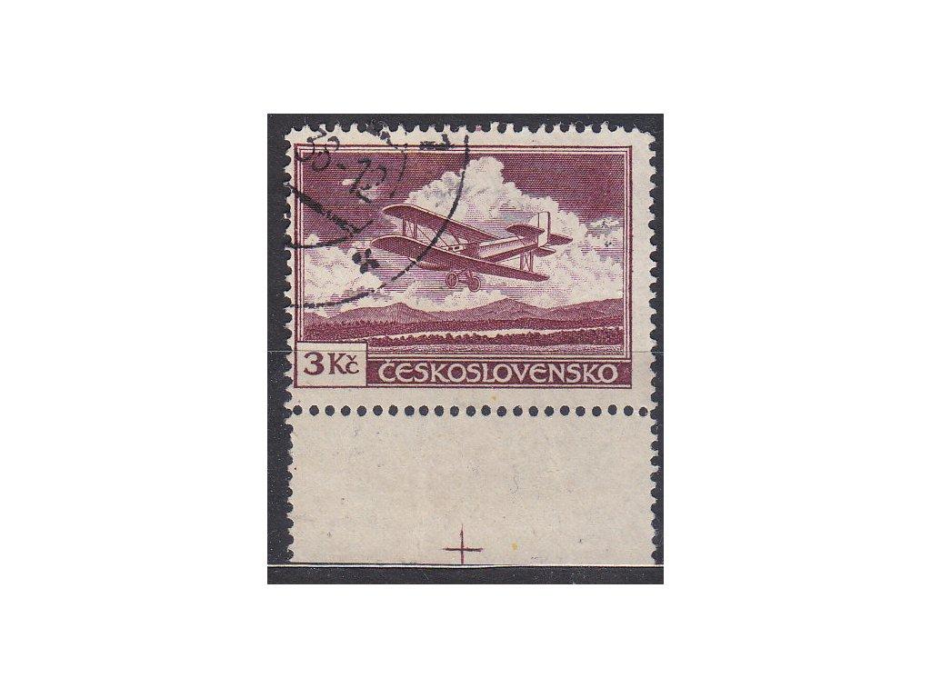 1930, 3Kč fialová, kraj. kus s křížkem na okraji, Nr.L10, razítkované