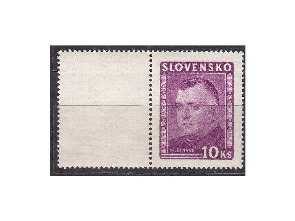 1945, 10Ks Tiso, levý kupon z meziarší, Nr.125S, **