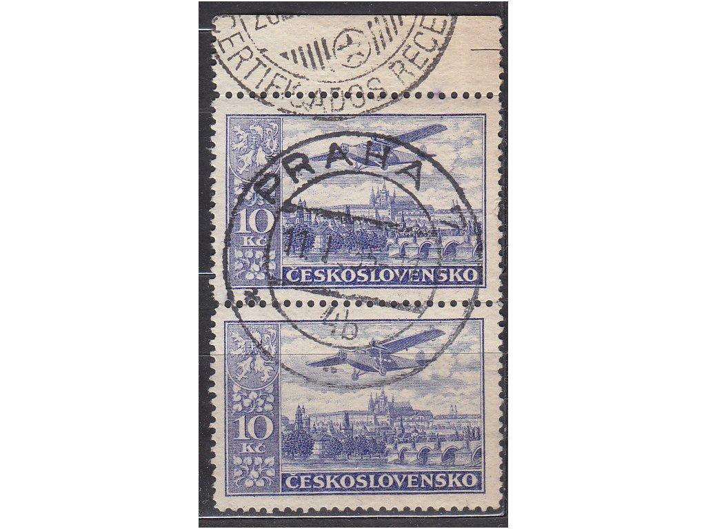 1930, 10Kč modrá, kraj. 2páska, Nr.L13, razítkované