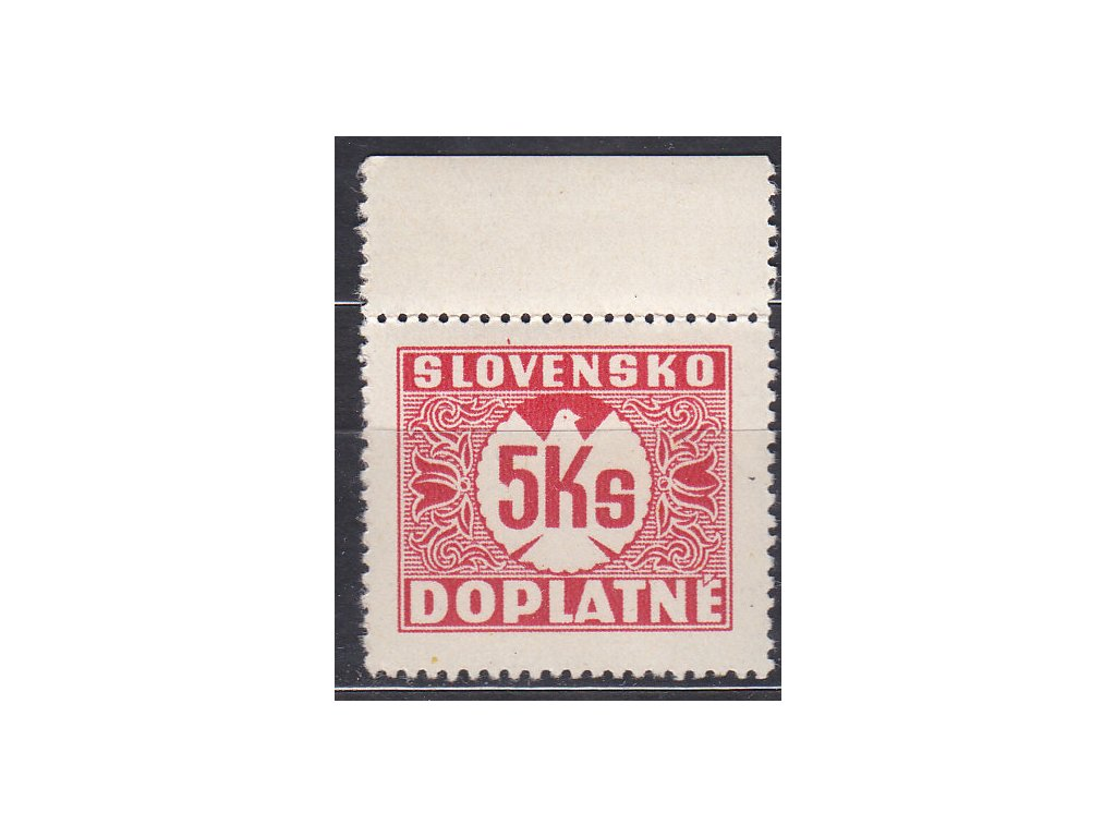 1939, 5Ks Doplatní, svislý rastr, krajový kus, Nr.DL10, **