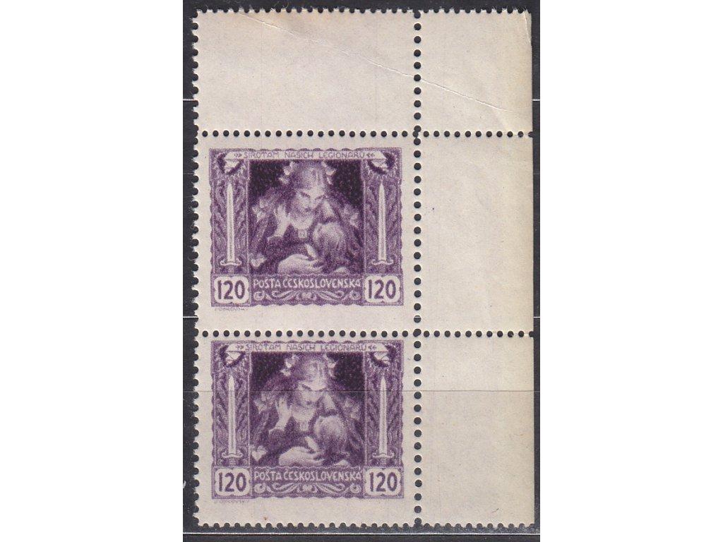 120h fialová, roh. 2páska s dvojitou perf., Nr.32B, **, lehký lom v okraji, dv
