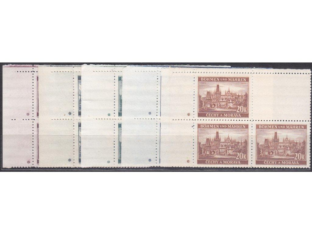 1939, 3-20K Města, levé horní roh.4bloky, varianta křížek, Nr.36-40, **