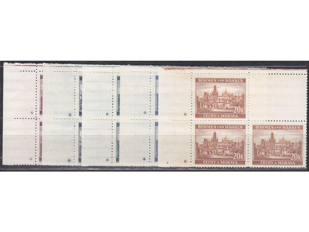1939, 3-20K Města, levé horní roh.4bloky, varianta hvězdička, Nr.36-40, **