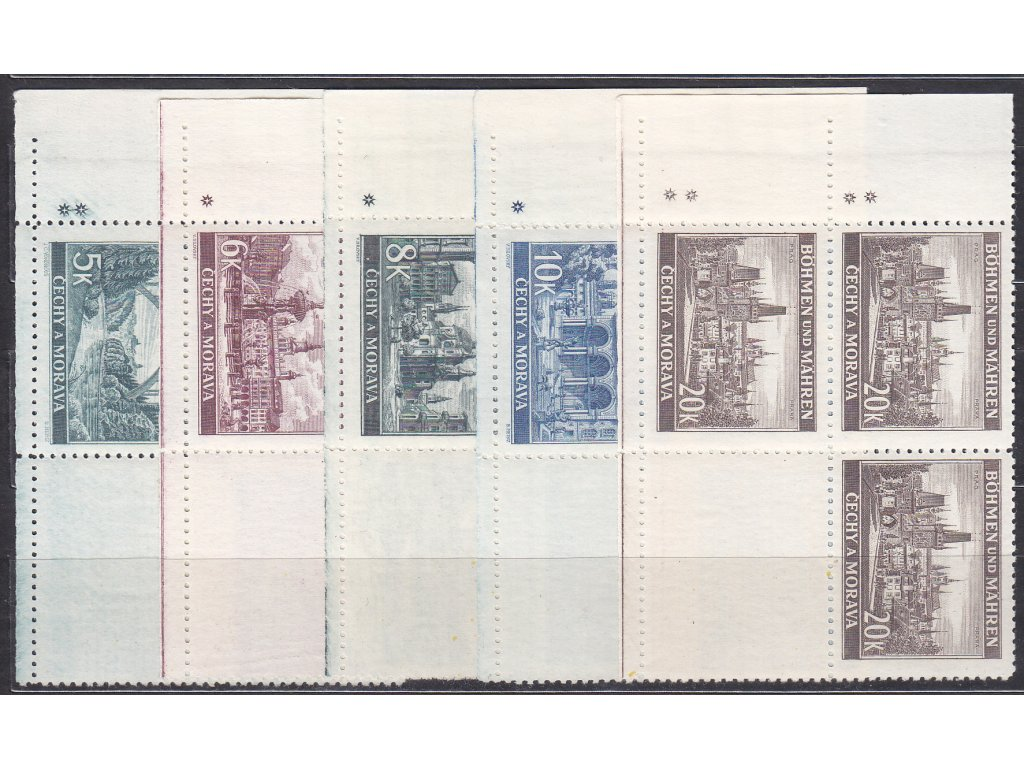 1940, 5-20K Krajinky, levé dolní roh. 4bloky - varianta křížek, Nr.45-9, **