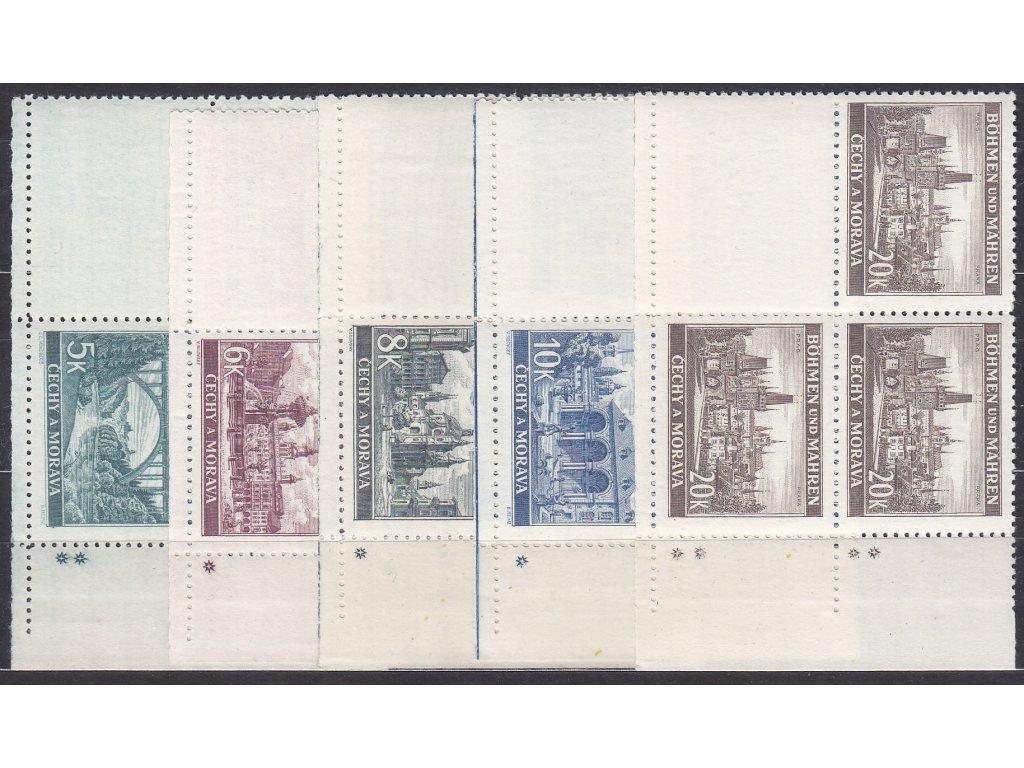 1940, 5-20K Krajinky, pravé dolní roh. 4bloky - varianta křížek, Nr.45-9, **