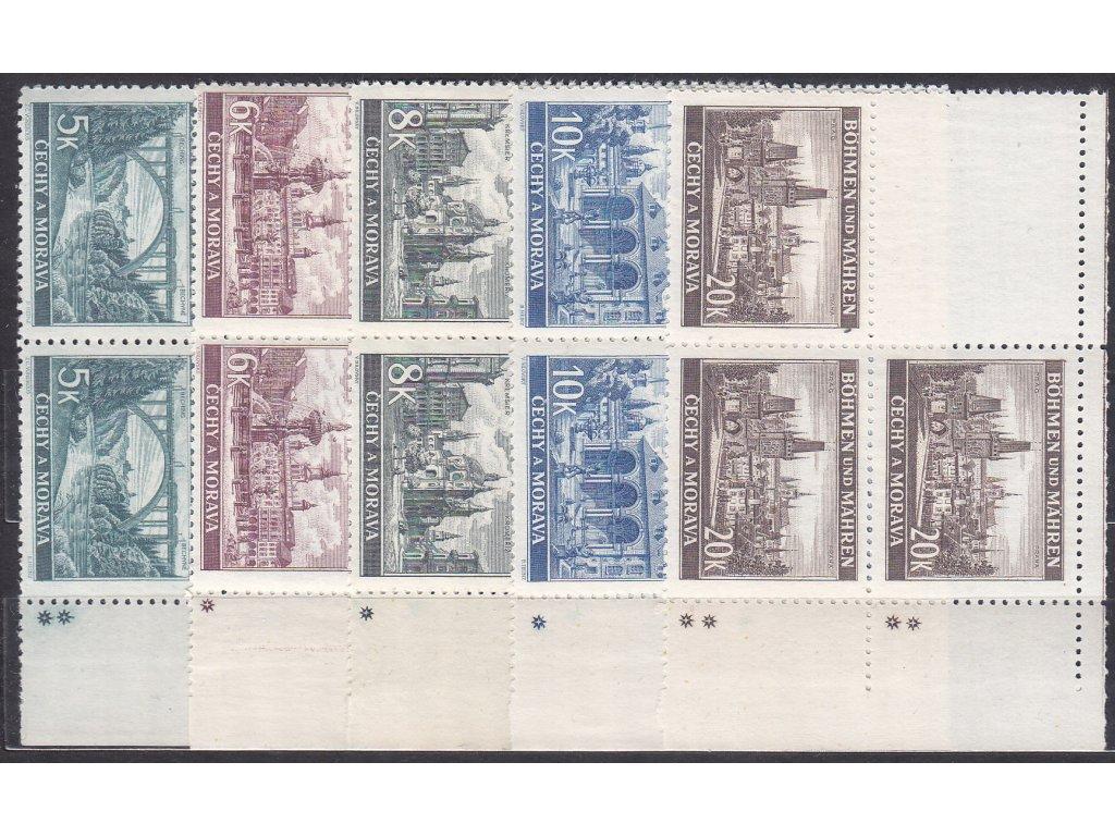 1940, 5-20K Krajinky, pravé horní roh. 4bloky - varianta křížek, Nr.45-9, **