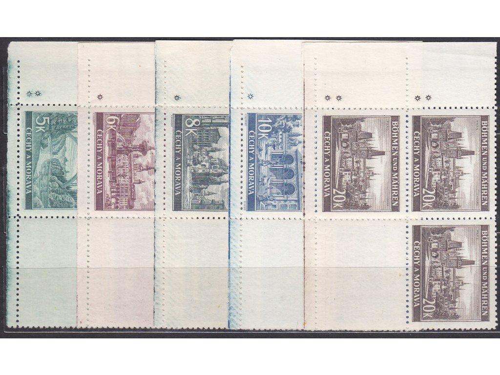 1940, 5-20K Krajinky, levé dolní roh. 4bloky - varianta hvězdička, Nr.45-9, **