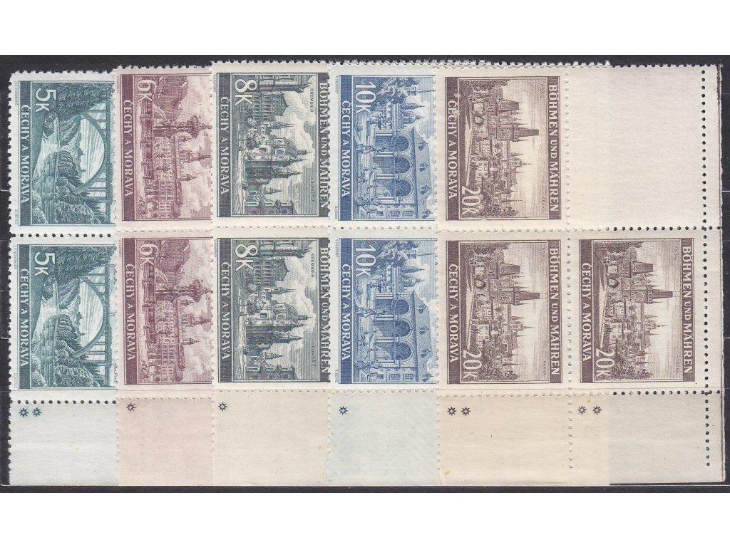 1940, 5-20K Krajinky, pravé horní roh. 4bloky - varianta hvězdička, Nr.45-9, **