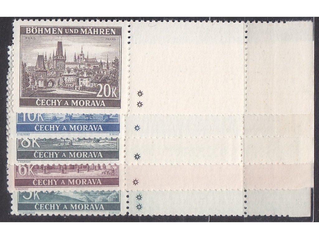 1940, 5-20K Krajinky, pravé vodorovné kupony - varianta hvězdička, Nr.45-9, **