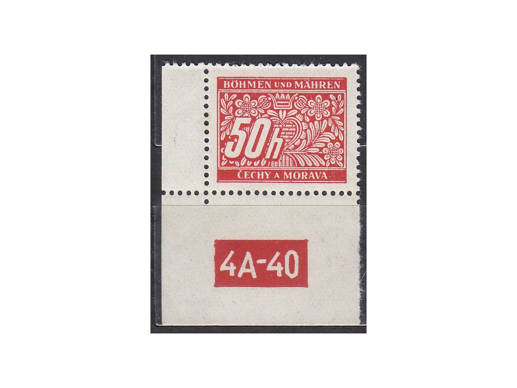50h červená, levý roh. kus s DČ 4A-40 varianta X, Nr.DL6, **