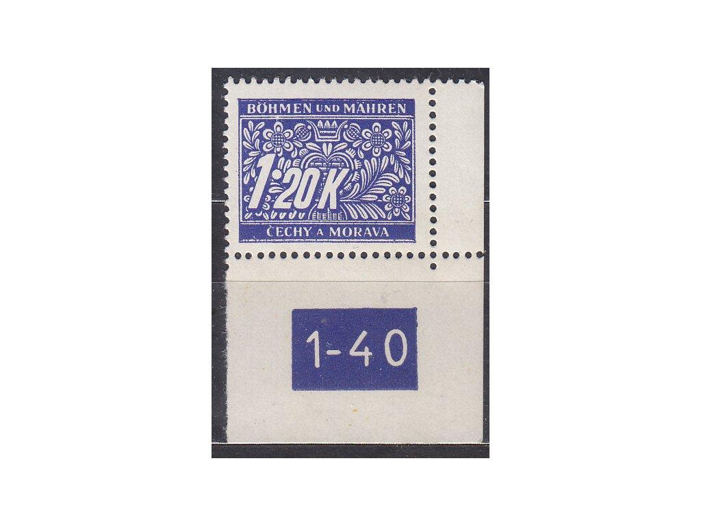 1.20K modrá, pravý roh. kus s DČ 1-40 - varianta X, Nr.DL10, **