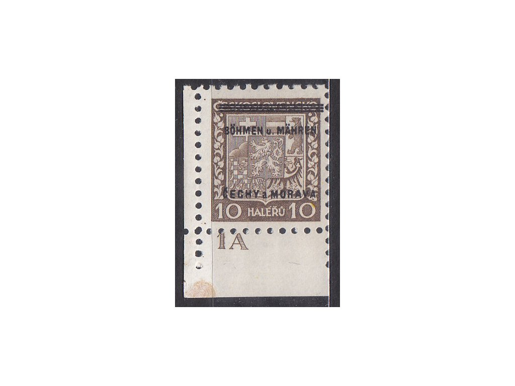 1939, 10h Znak, roh. kus s DČ 1A,, Nr.2, **