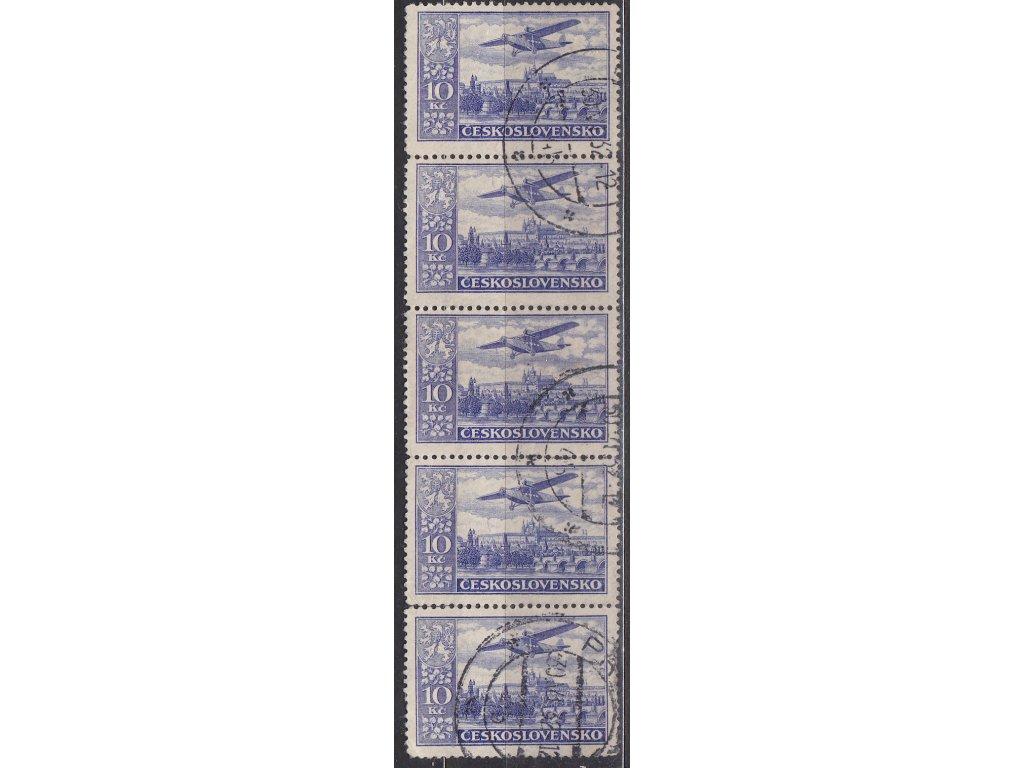 1930, 10Kč modrá, 5páska!, Nr.L13, razítkované, lehce povoleno v perforaci, větší bloky vzácné