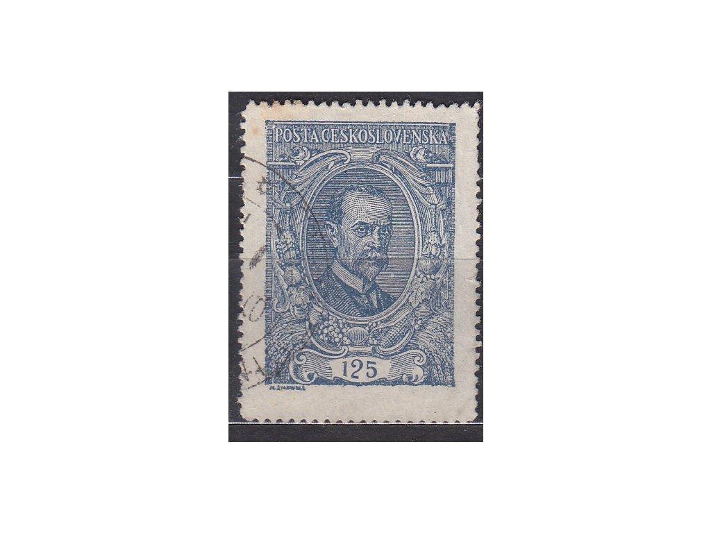 125h modrá, DV - krátká příčka, Nr.140, razítkované, narezlý okraj