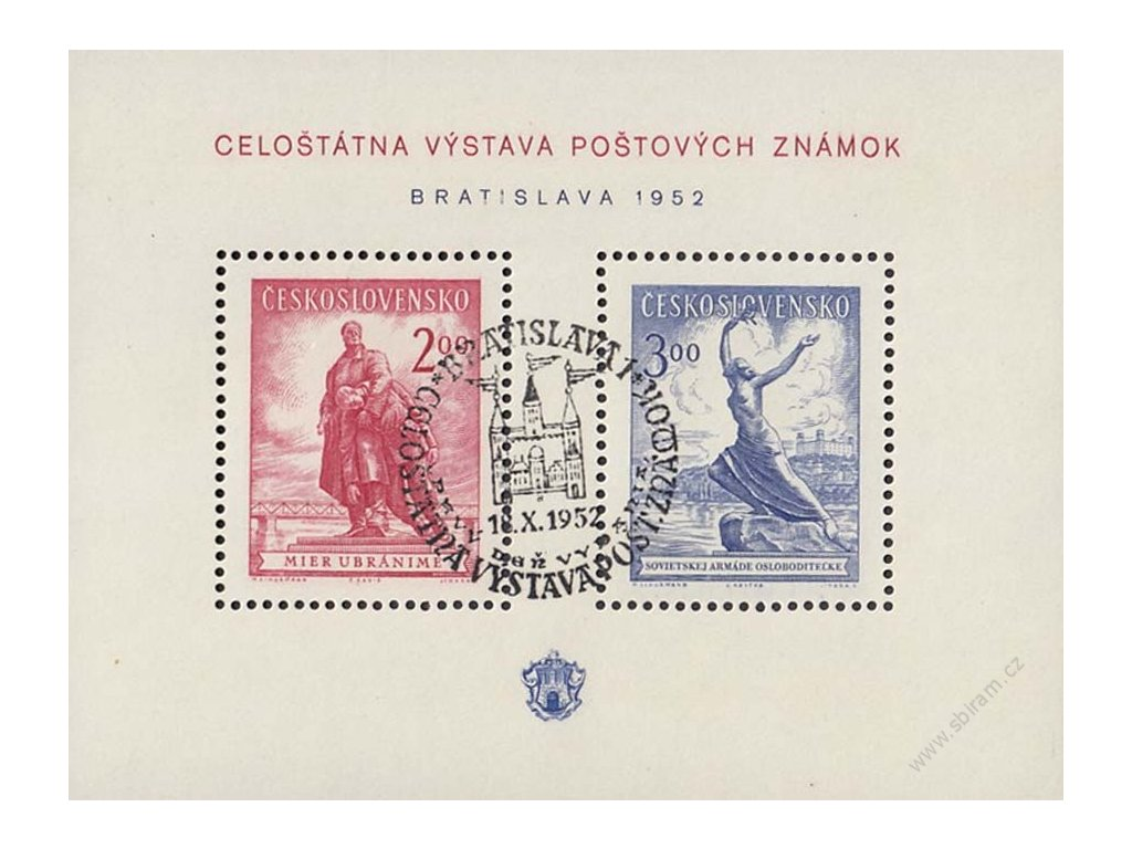 1952, 2-3Kčs aršík Bratislava, razítko FDC