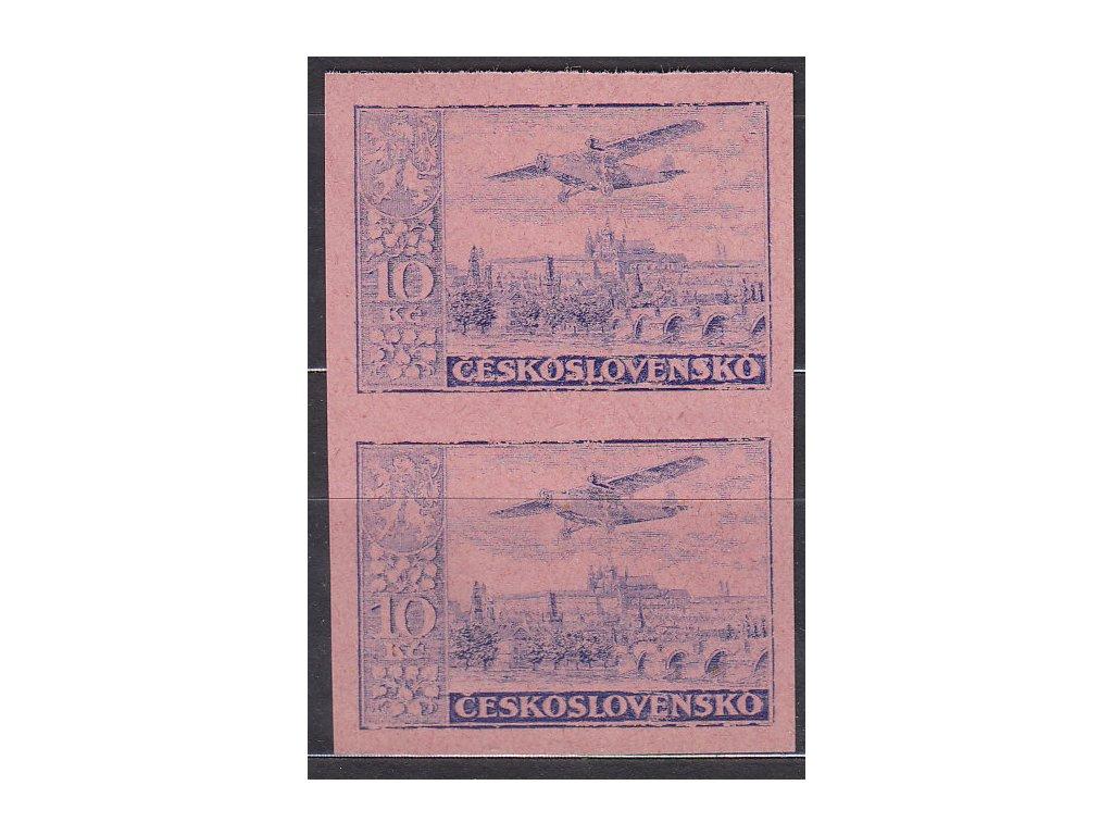 1930, 10Kč modrá, nezoub. ZT na růžovém papíru, 2páska, Nr.L13, bez lepu