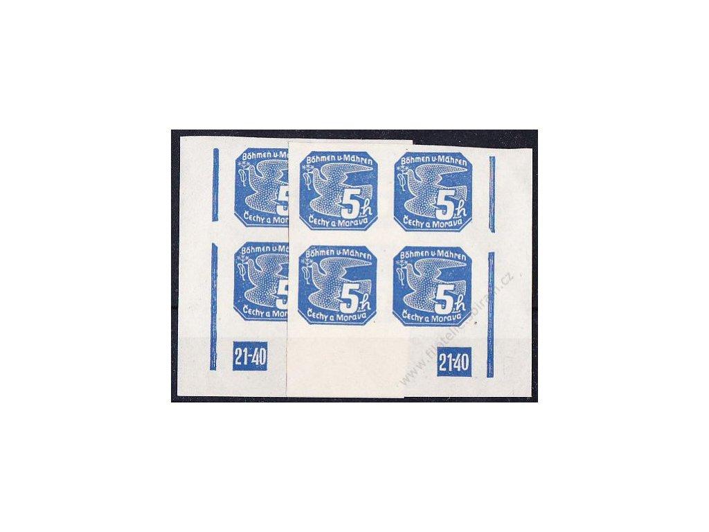 1939, 5h modrá, roh. 4blok s DČ 21-40 - L+P, Nr.NV2, **