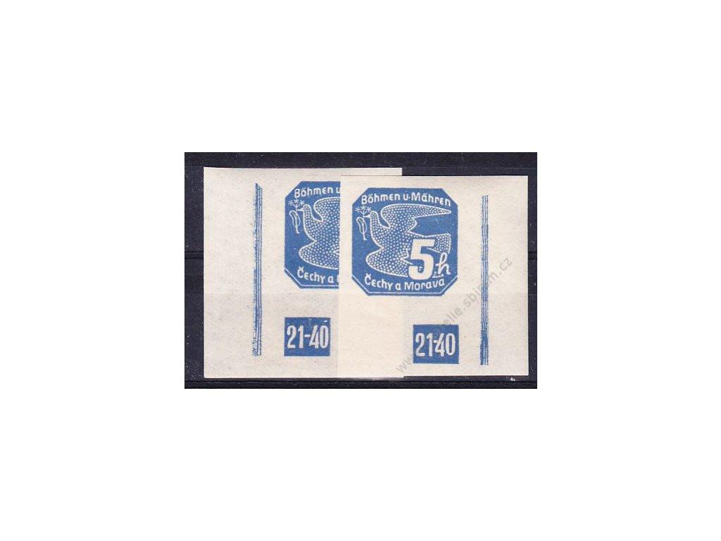 5h modrá, 2 roh. kusy s DČ 21-40, L+P, Nr.NV2, **