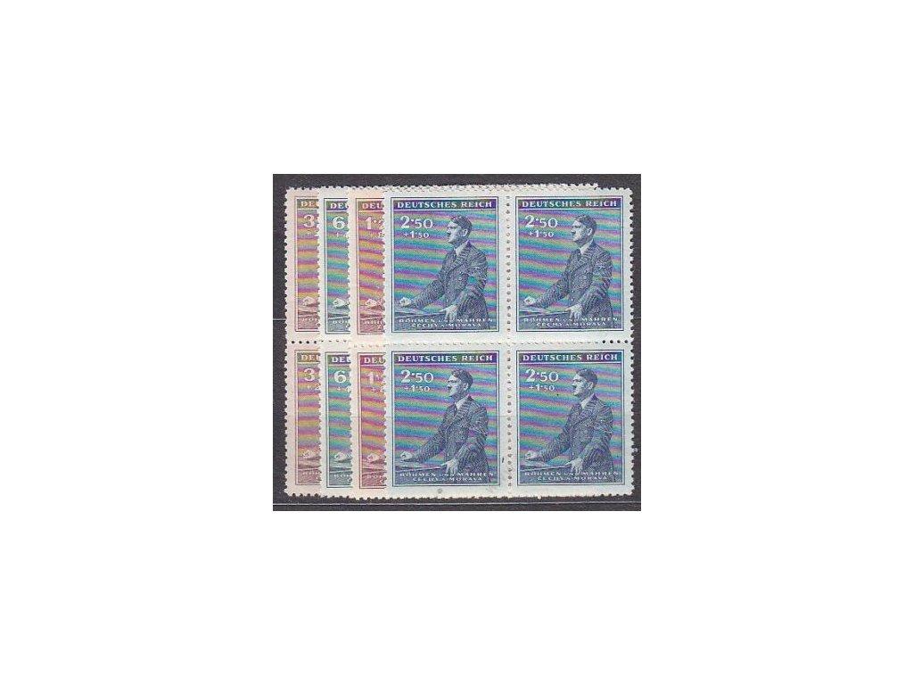 1942, 30h-2.50K Hitler, série, 4bloky, Nr.74-7, **