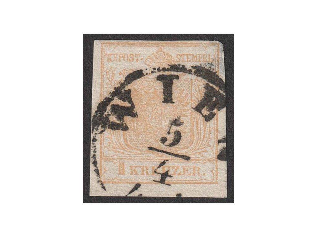 1850, 1 Kr Znak, MiNr.1, razítko, nalomený a zeslabený roh