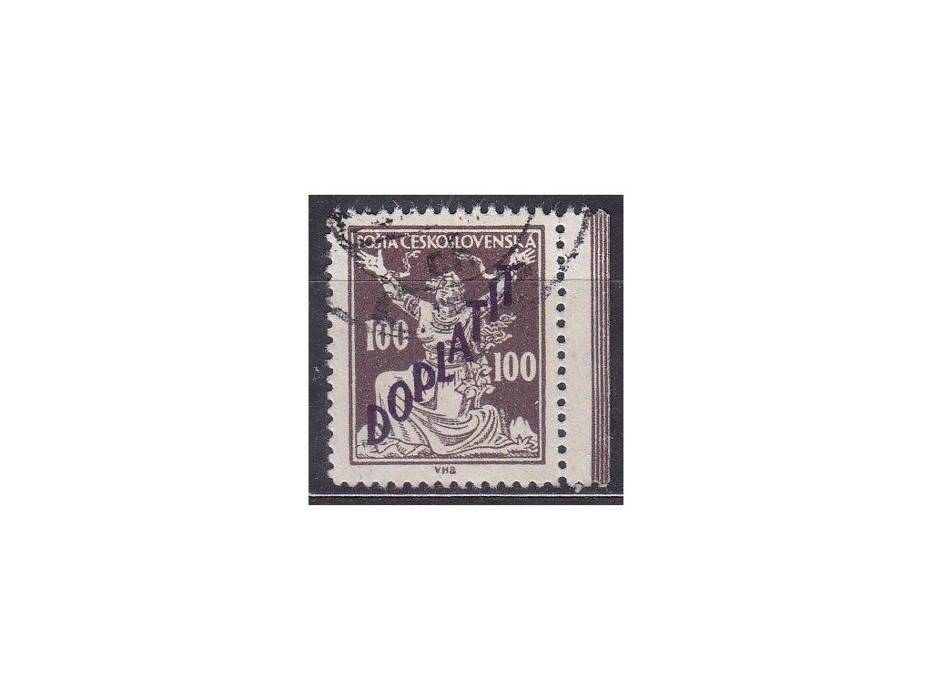 100h hnědá, Řz.13 3/4, krajový kus, Nr.DL53B, razítkované, hezký kus