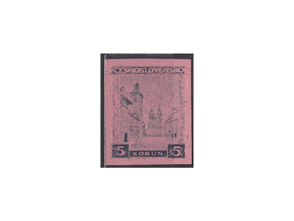 5Kč Praha , nezoub. ZT na růžovém papíru, Nr.256, bez lepu