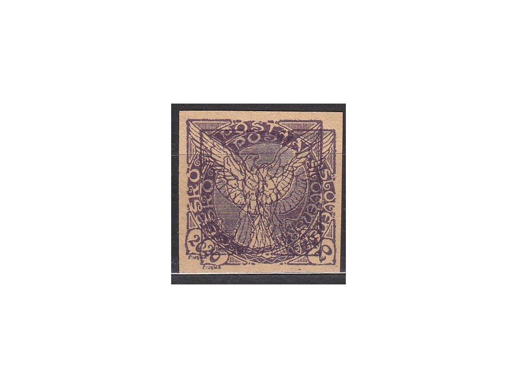 20h fialová, nevydaná, ZT na nahnědlém papíru bez lepu, násobný tisk, Nr.NV5N