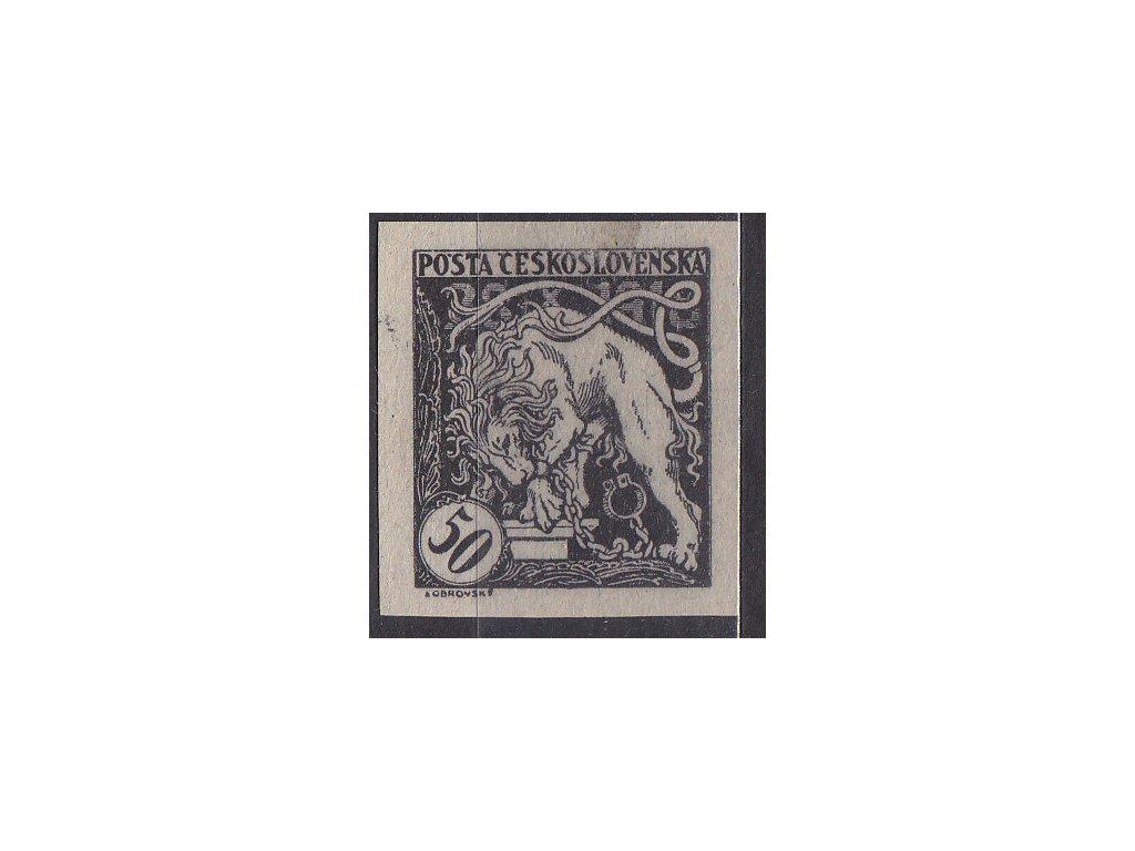 50h černá, nezoubkovaný ZT na šedém papíru, Nr.29, bez lepu