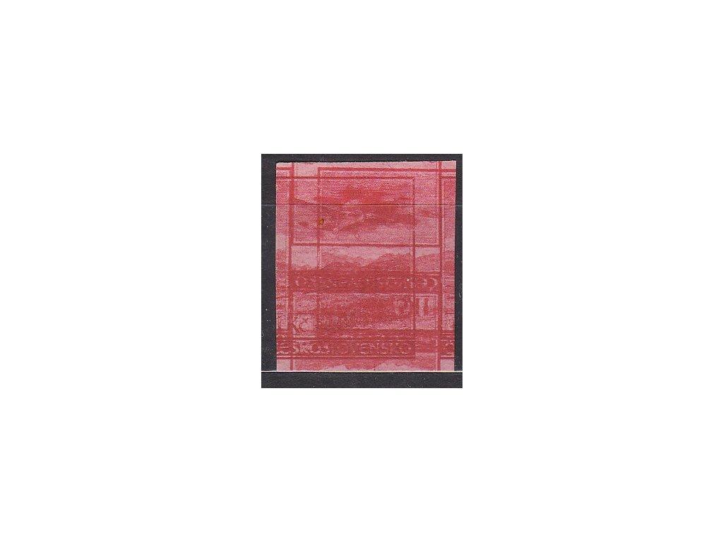 1930, 1Kč červená, nezoubkovaný ZT na růžovém papíru bez lepu, násobný tisk, Nr.8