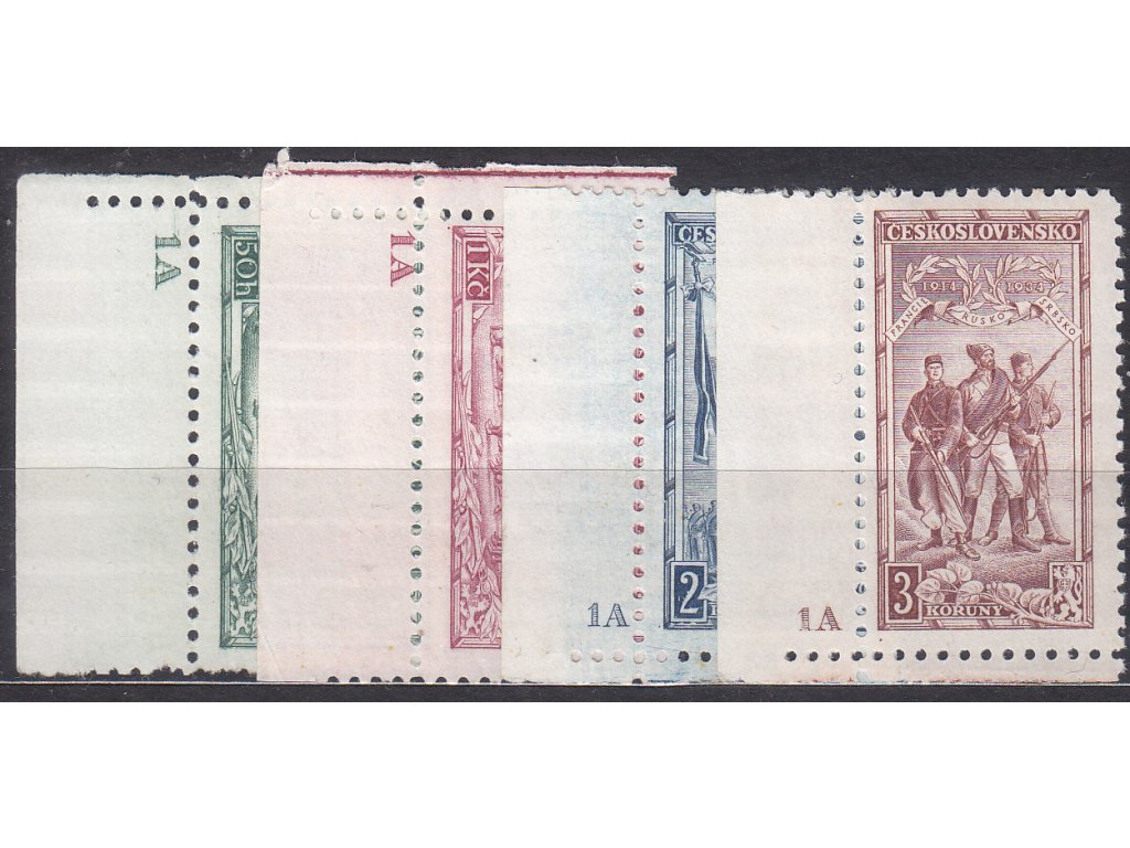1934, 50h-3Kč Vojenské, roh. série s DČ 1A, Nr.276-9, * po nálepce, ilustrační foto