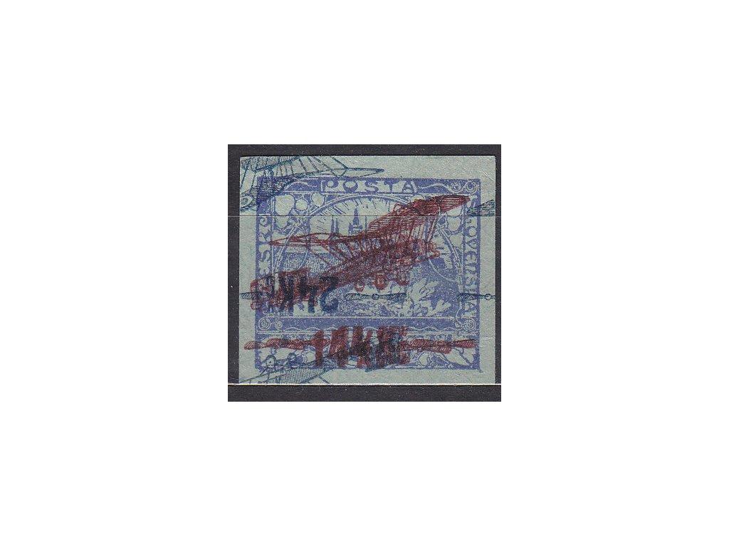 1920, 14Kč/200h modrá, ZT na namodralém papíru, násobný tisk přetisku, zk.Karásek, Nr.L1, bez lepu