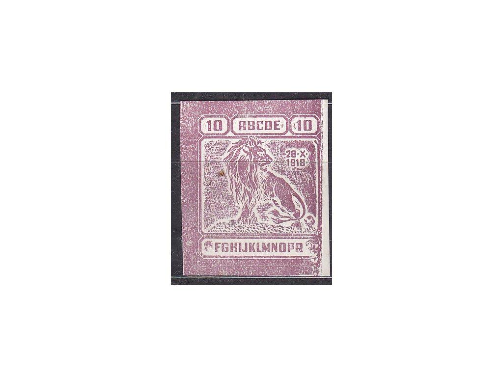"""Nerealizovaný návrh """"lev"""" 10h v barvě purpurové na známkovém papíru bez lepu, tiskárna Hasse"""