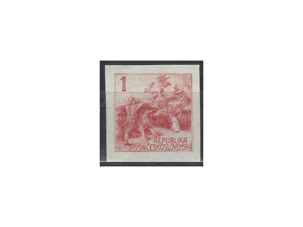 Návrh na čs. kolek 1h v červené barvě na známkovém papíru bez lepu, cca 1920