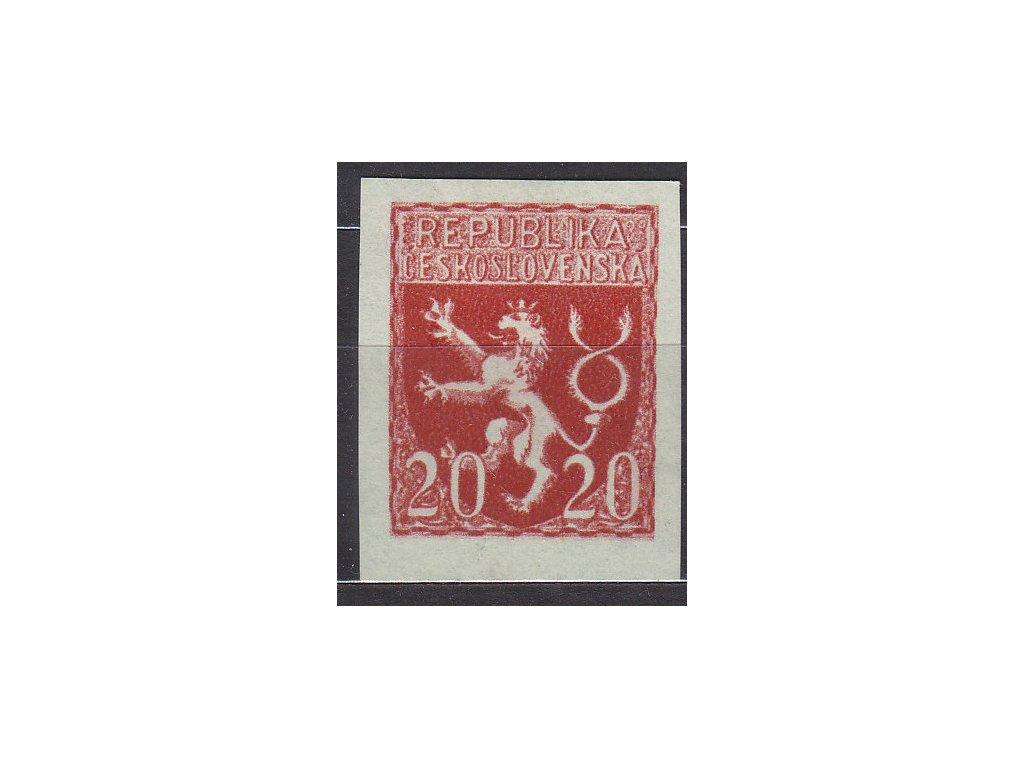 Návrh na čs. kolek 20h v červené barvě na namodralém papíru bez lepu, cca 1920