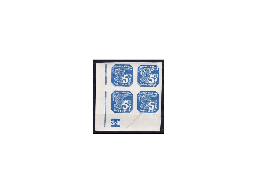 5h modrá, levý roh. 4blok s DČ 23-40, Nr.NV2, **