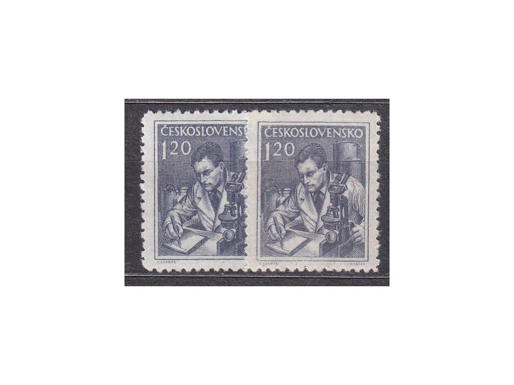 1954, 1.20Kčs Povolání, 2 ks - odstíny barev, Nr.783, **