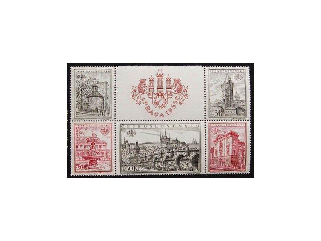 1955, 30h-1.60Kčs zoubkovaný soutisk z aršíku PRAGA 1955, Nr.853-57A, **