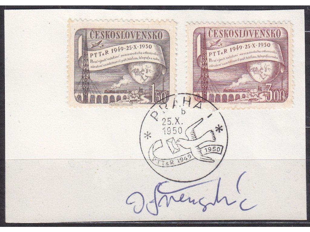 Švengsbír 1950, výstřižek se zn. Nr.565-6 s orig. podpisem
