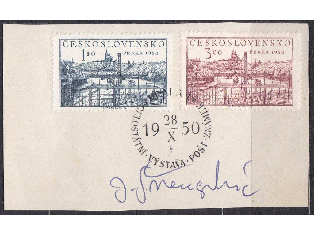 Švengsbír 1950, výstřižek se zn. Nr.562-3 s orig. podpisem