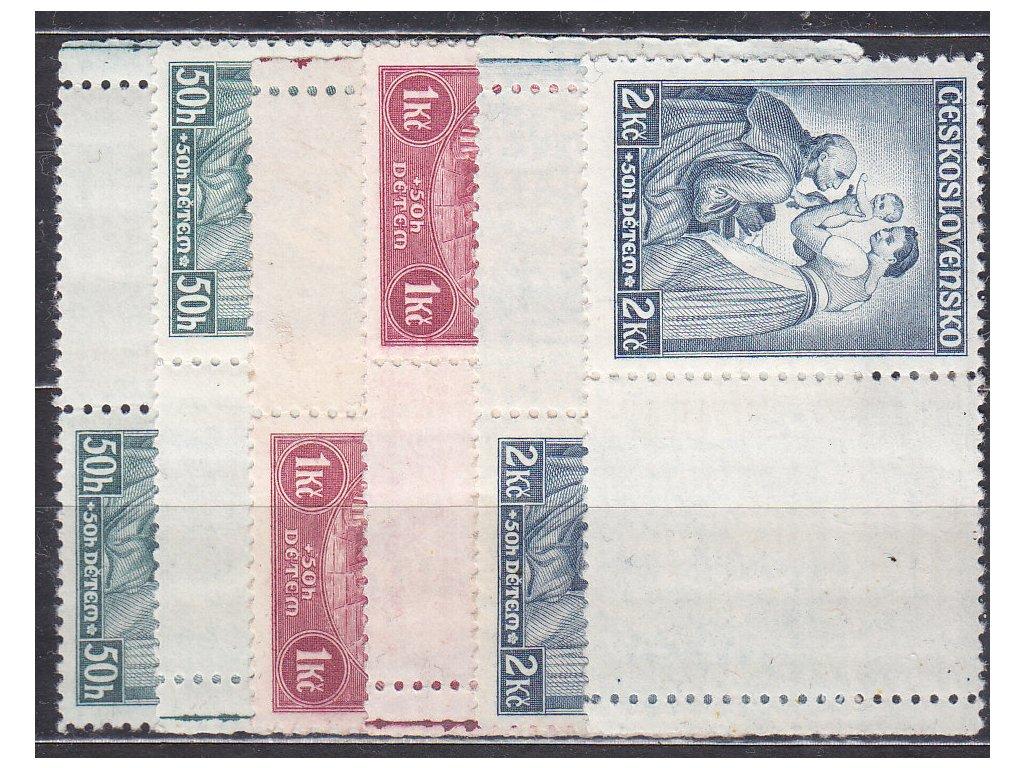 1936, 50h-2Kč Dětem, L+P kupony, Nr.295-7, * po nálepce