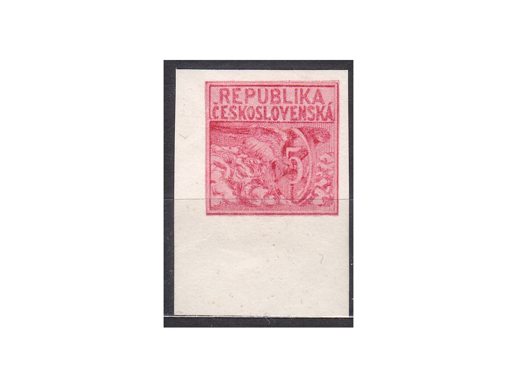 Návrh na čs. kolek 5h v červené barvě na bílém silném papíru s lepem, rohový kus, * po nálepce, cca 1920