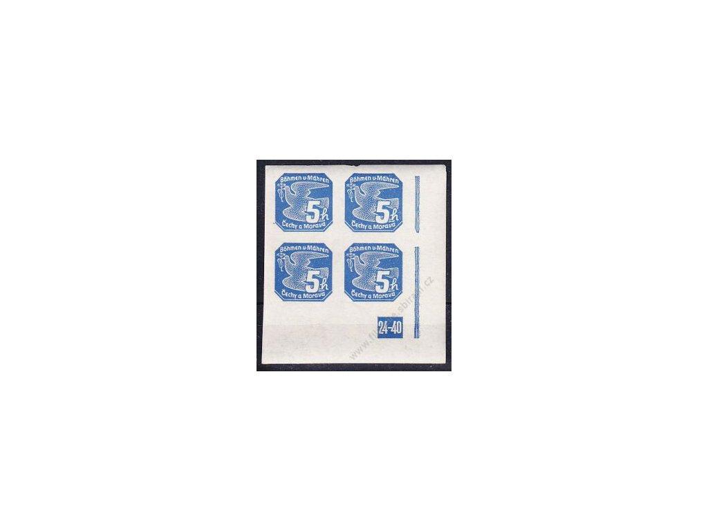 5h modrá, pravý roh. 4blok s DČ 24-40, Nr.NV2, **