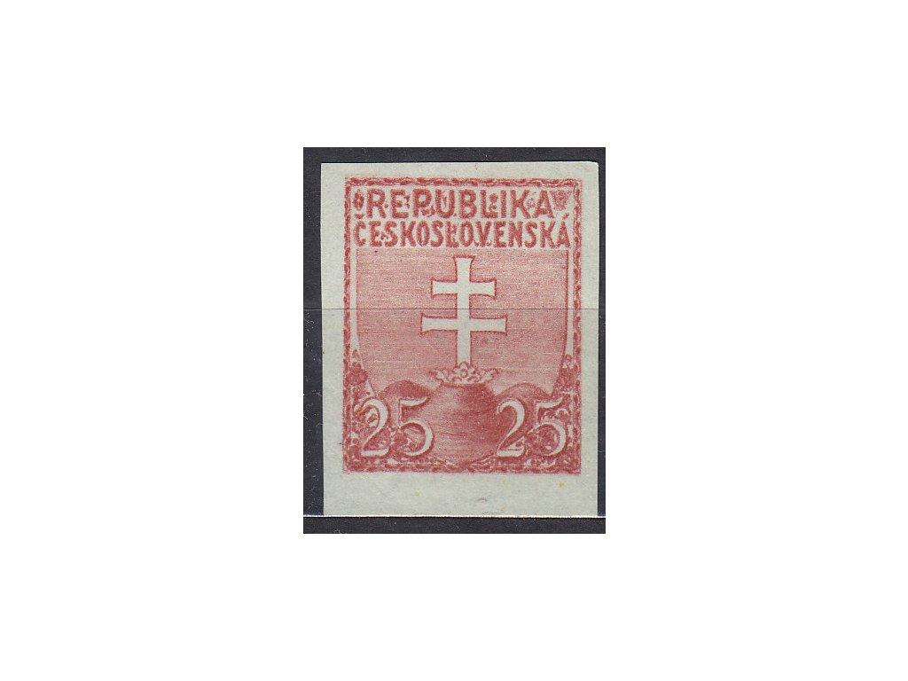 Návrh na čs. kolek 25h v červené barvě na namodralém papíru bez lepu, cca 1920