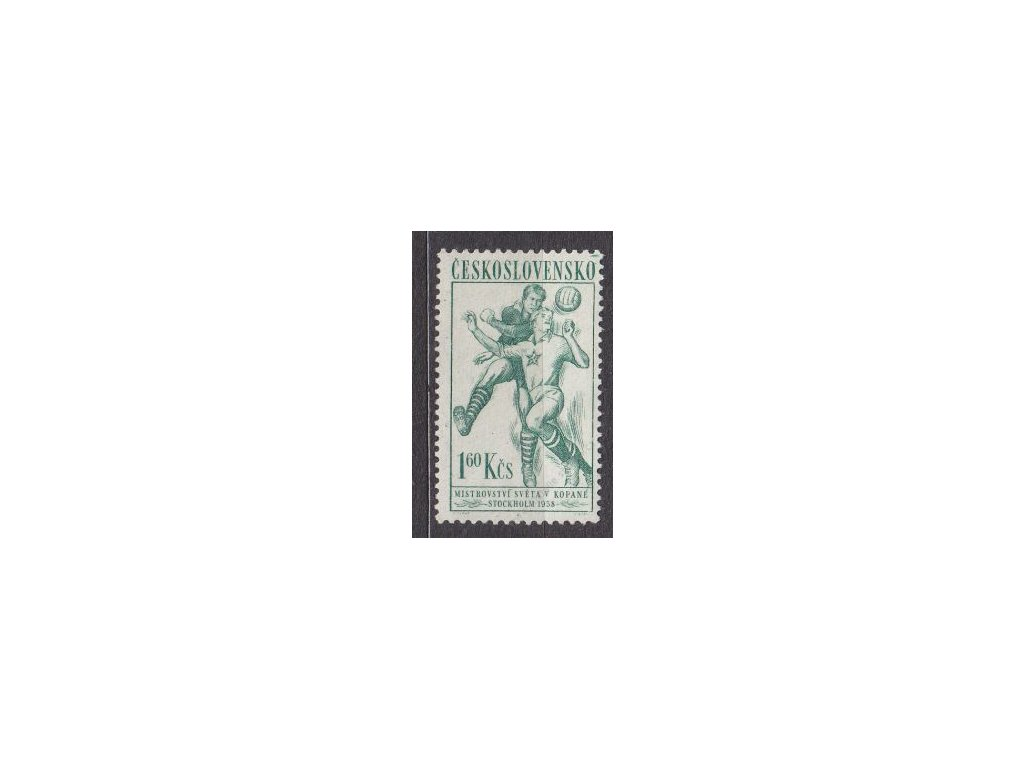 1958, 1.60Kčs Sport, VV - zelená čárka v rohu. zn.
