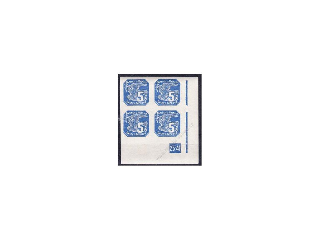 5h modrá, pravý roh. 4blok s DČ 25-41, Nr.NV2, **