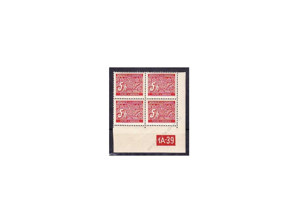 5h červená, pravý roh. 4blok s DČ 1A-39, varianta Y, Nr.DL1, **