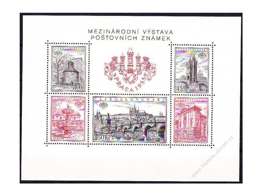 1955, zoubkovaný aršík PRAGA 1955, Nr.A853-7, **