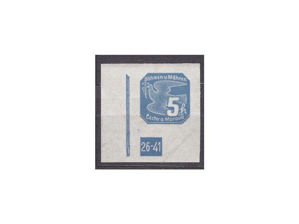 5h modrá, levý roh. kus s DČ 26-41, Nr.NV2, **