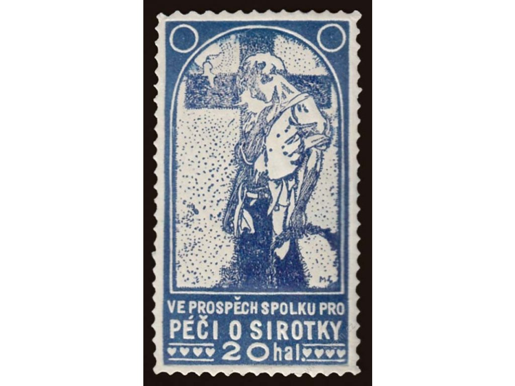 Mucha, 20h Péče o sirotky, modrá barva, cca 1920, **